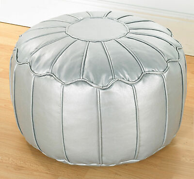 Silver Luxury Faux Leather Moroccan Bean Bag Footstool Pouffe With Piped Edges