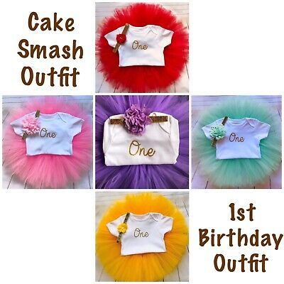 Girls First Birthday Outfit Tutu Cake Smash Outfit 1st Girl Birthday Party Dress