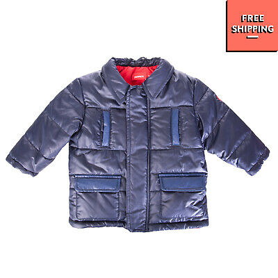 FERRARI Quilted Jacket Size 6M Dark Blue Padded Contrast Detailing Collared
