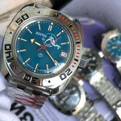 710059 VOSTOK Amphibian Mechanical Automatic Men's Wrist Watch SCUBA DUDE Blue