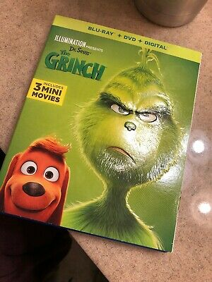 Dr. Seuss' THE GRINCH 2019 Blu-Ray + DVD + NO Digital Like New Slipcover