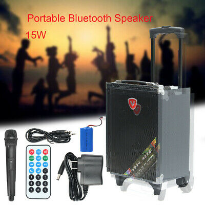 Portable Trolley bluetooth Speaker Wireless Stereo Loud Super Bass Sound USB TF