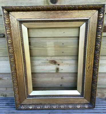 Antique Oil Painting Frame Gesso Acanthus Leaf Gilt on Pitch Pine 19th Century