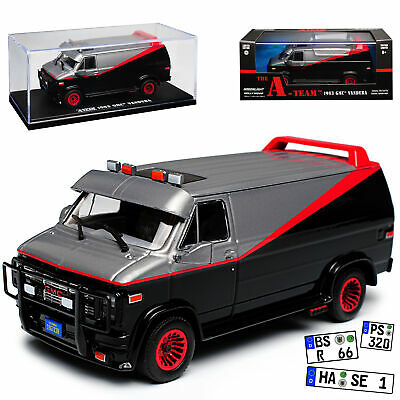 GMC Vandura The A-Team Schwarz mit Rot 1968-1996 1/43 Greenlight Modell Auto m..