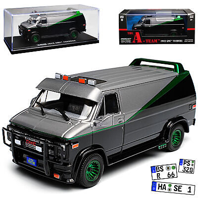 GMC Vandura The A-Team Schwarz mit Grün 1968-1996 1/43 Greenlight Modell Auto ..