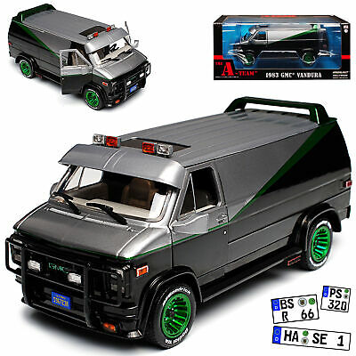 GMC Vandura The A-Team Schwarz mit Grün 1968-1996 1/24 Greenlight Modell Auto ..