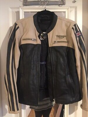 Women's Triumph Motorcycle Jacket Size S Black And Tan Leather Comes With Gloves