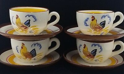 """(4) Stangl """"Country Life"""" Cups and Saucers 2 3/8"""""""