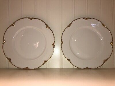 Two Haviland Limoges Ranson French Fine China Gold Scalloped Edge Salad Plates