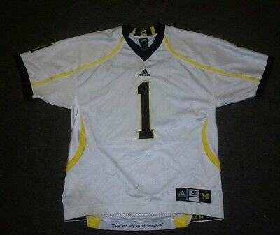 408c68f5b Michigan Wolverines  1 ADIDAS Authentic On-field Football White Jersey Men s  LGE