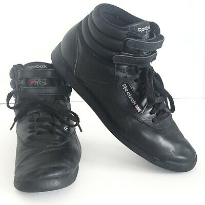 Reebok Classic Freestyle Hi-Top Black Leather Sneakers Women s Size 9.5  Vintage 40f3e9196