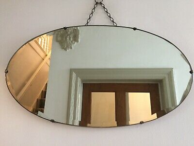 Vintage Frameless Mirror Silvery Grey Foxing Patina Bevelled Chain 55x32cm m118