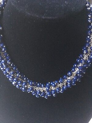 Vintage Necklace Midnight Navy Blue Caviar Cluster Beaded Silver Tone Chain Prom