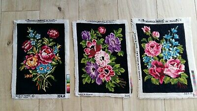 "Handworked completed tapestries ""3 BOUQUET TAPESTRIES"" same size"