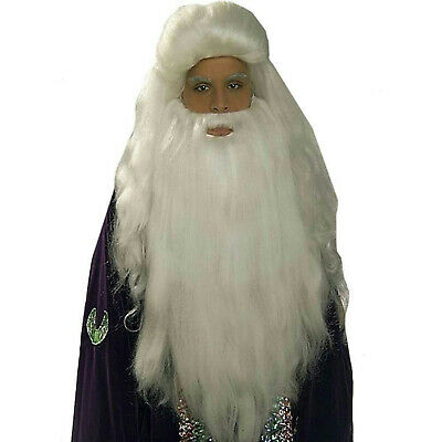White Sorcerer Wig and Beard Set Merlin Wizard Father Time