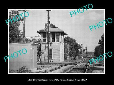 OLD LARGE HISTORIC PHOTO OF ANN PERE MICHIGAN, THE RAILROAD SIGNAL TOWER c1950