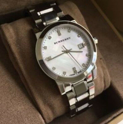 f1c42b16a1b3 NEW BURBERRY DIAMOND Accent Stainless Steel Ladies Bu9125 Watch ...