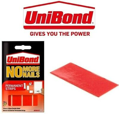 Unibond No More Nails Permanent Double Sided Mounting Strips 3kg Tape 20mmx40mm