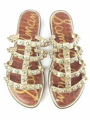 fe1e541ab Sam Edelman Women s Glenn Gold Studded Slide Sandal 9 New In Box-free  Shipping