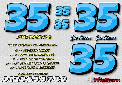 Blue Prismatic Race Car Numbers Vinyl Decals Kit Package Late Model, Modified