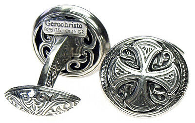 Gerochristo 7107 ~ Maltese Cross ~ Solid  Sterling Silver Medieval Cufflinks