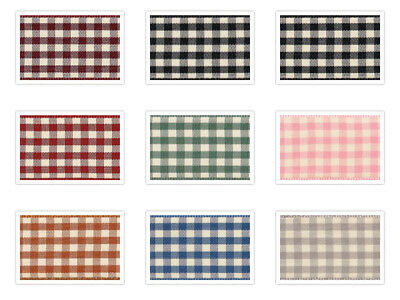 Natural Gingham Ribbon by Berisfords  10mm 15mm or 25mm 8 Shades and 5 Lengths