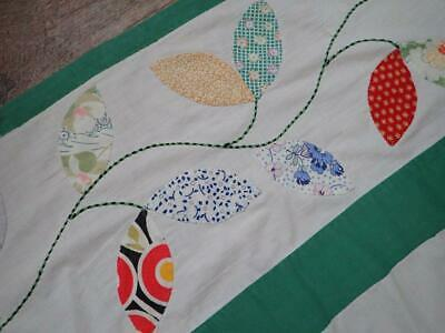 Vintage Dated 1936 Autumn Leaves Quilt Top Coverlet 85x82