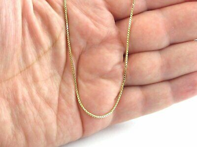 "14K Solid Yellow Gold Thin BOX Chain Necklace 16"" 18"" 20"" 22"" 24"" 26"" 30"""