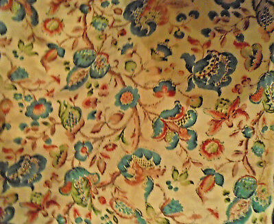 """Vintage Linen, Ivory, Turquoise, Rust, Trad  38""""x23"""""""