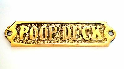 "Door Sign "" Poop Deck "" Brass - Plaque And Signs - Nautical - Boat - Maritime"