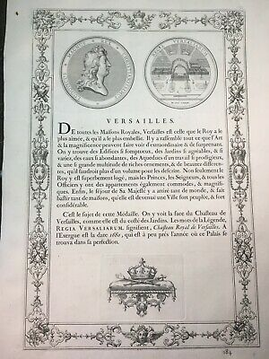 antique print 1702 French Decorative Coins, VERSAILLES LOUIS XIV. Medals