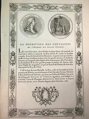 antique print 1702 French Decorative Medallion, LE CHEVALIERS LOUIS XIV., MEDALS