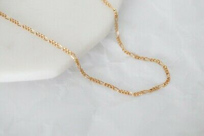 """14K Solid Yellow Gold Italian Figaro Link Chain Pendant Necklace 16""""-30"""""""
