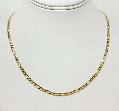 """14K Solid Yellow Gold 3.5mm Italian Figaro Link Chain Pendant Necklace 16""""-28"""""""