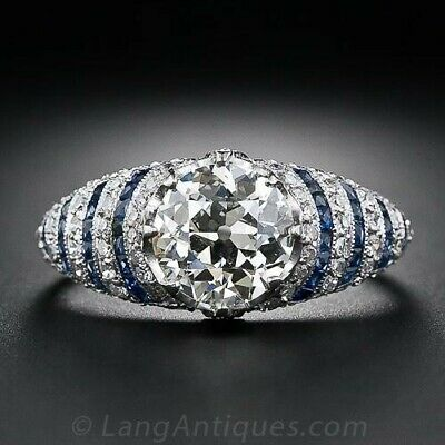 Vintage 925 Silver White Topaz Sapphire Women Ring Wedding Engagement Size 5-10