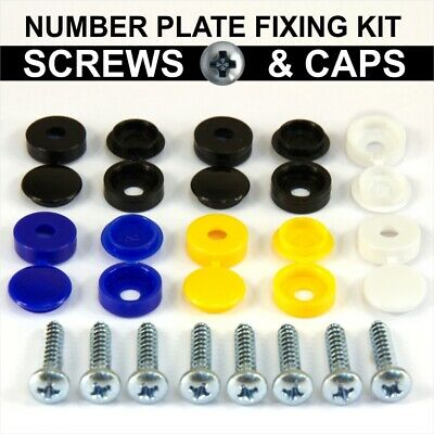 Number plate Car Fixing Fitting KIT Screws and White Yellow Blue Black Caps 18pc