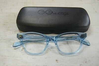 Vintage Selecta Clear Blue Eyeglass Frames France with Case