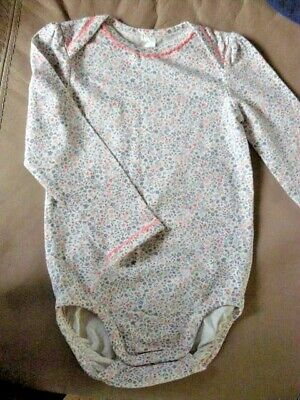H And M Baby Girls Romper Playsuit Floral Cotton 12 To 18 Month Long Sleeve VGC