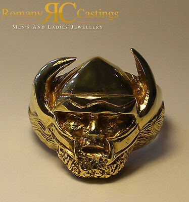 Highly Polished Viking Head Ring cast in 9ct Solid Gold 22g Fully Hallmarked