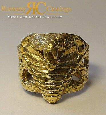 Very Rare Unisex Cobra Snake Head Ring Jewellers Bronze Ring 9ct Gold Dipped