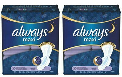 ALWAYS MAXI OVERNIGHT EXTRA HEAVY FLOW W/WINGS 20ct (2 PACK)