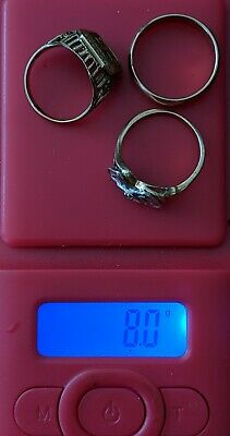 3 10k Gold Rings Lot 8.1 Grams Wearable Or Scrap 1927 school ring 3 days auction