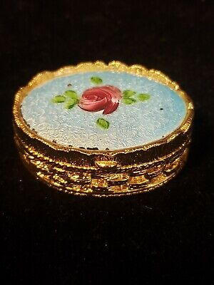Vintage Small Victorian Guilloche Trinket Box Hand Painted Porcelain