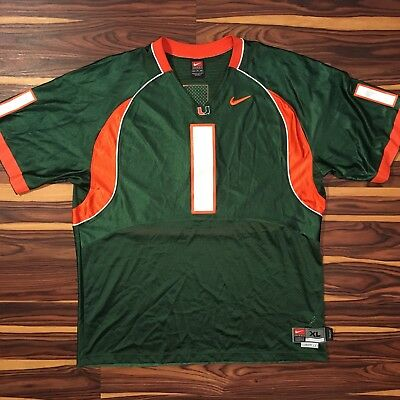 4c5455de6 University of Miami Jersey Sz XL Length +2 Nike UM Hurricanes Football  1