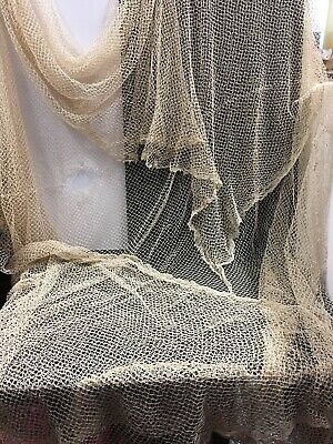 Antique Vintage Lace Crochet Table Cloth Large As Is Netting Pattern
