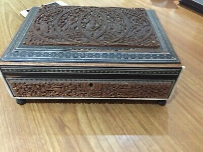 Anglo Indian Highly Carved Scroll?box Indian Gods And Inlaid