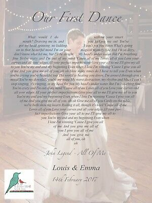 First Dance Song Lyrics Heart Personalised Photograph Print