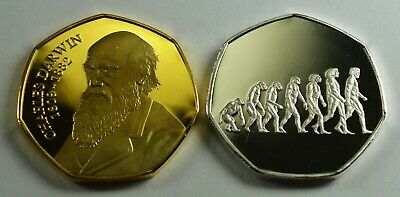 Pair of CHARLES DARWIN Silver/Gold Commemorative Coins Albums/50p Collectors.