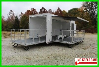 ATC Quest 8.5x24 Enclosed Marketing Stage Tradeshow Trailer Awning LED Cabinets
