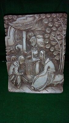 Vintage Oriental Deep Hand Carved Wooden Bookend Man,Woman & Child scene -Treen.